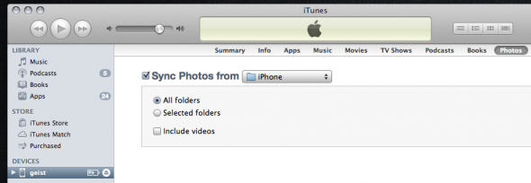 Syncing a folder in iTunes