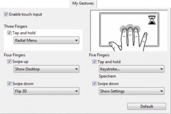 Intuos5 Multitouch Gestures
