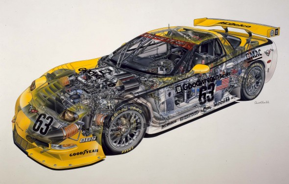 Corvette Cutaway Illustration by David Kimble