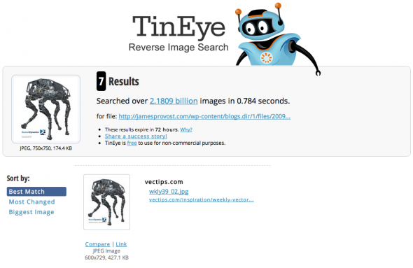 Reverse Image Searching with TinEye