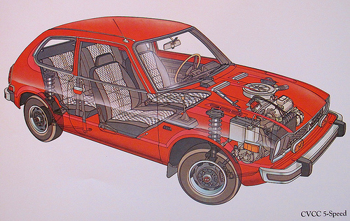 Honda Civic CVCC Cutaway Illustration