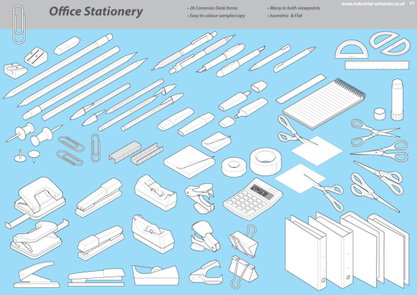 Isometric Illustration Library - Office Objects
