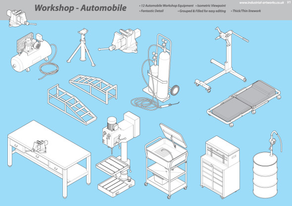 Isometric Illustration Library -  Auto Workshop