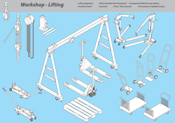 Isometric Illustration Library - Workshop Lifting