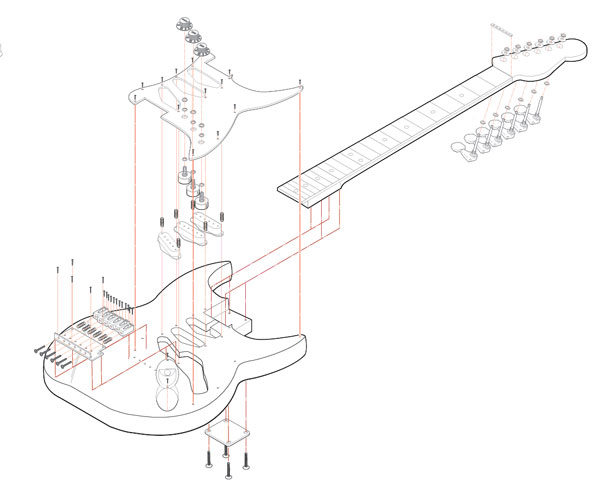 Stratocaster Exploded Isometric